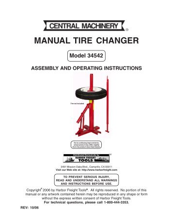 harbor freight tire changer instructions