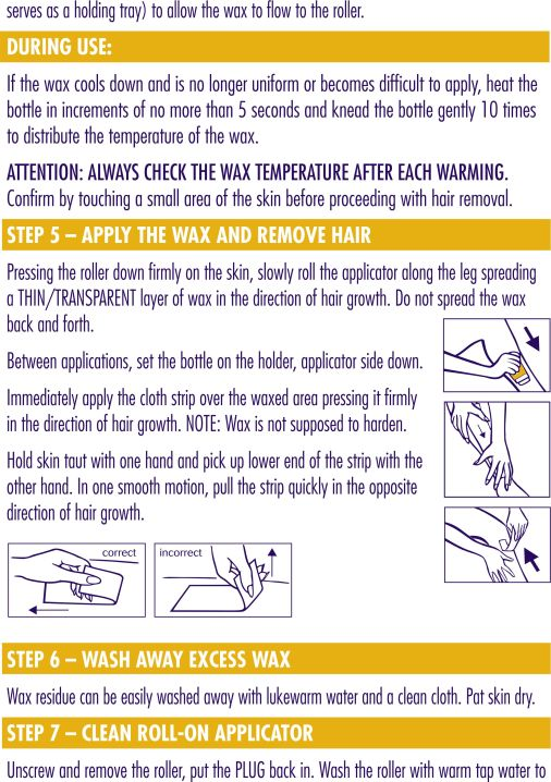 nair roll on wax instructions