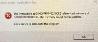 the instruction at referenced memory at 0x0000